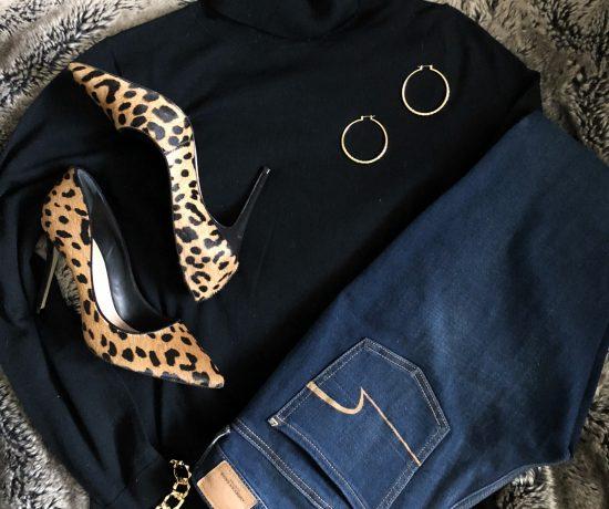 leopard shoes black turtleneck gold
