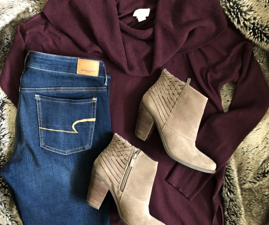 red sweater burgundy tunic taupe booties