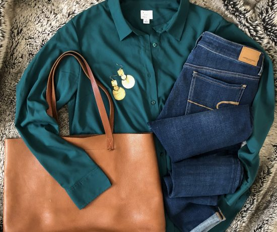 long sleeve green blouse shirt
