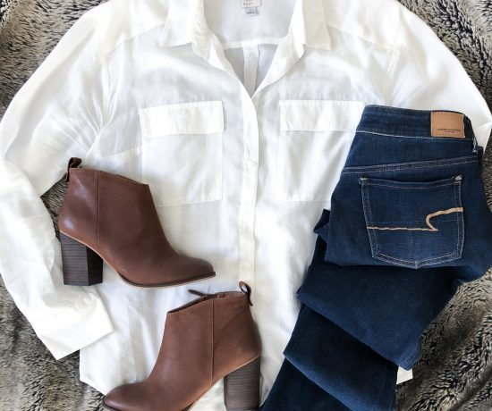 white shirt brown booties
