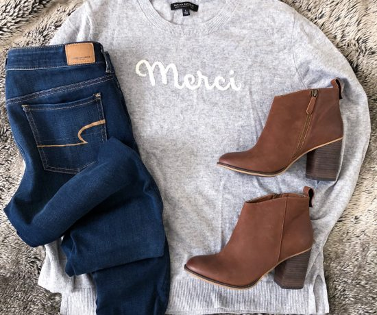graphic sweater brown leather booties jeggings