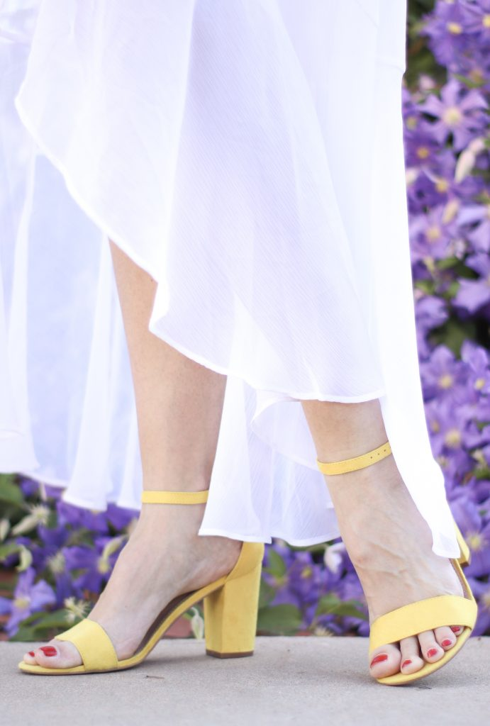 Yellow block heel sandal