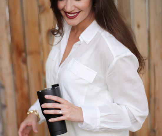 long sleeve white utility shirt