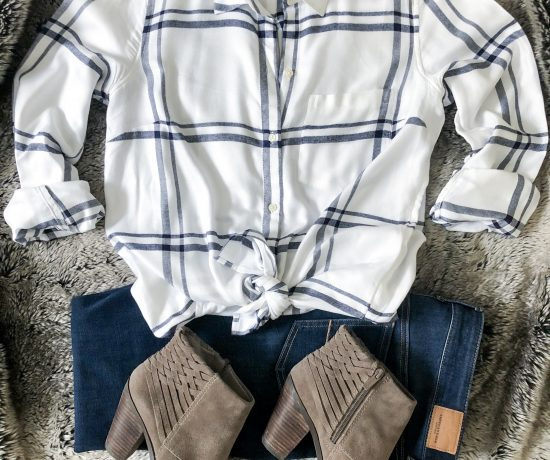 plaid flannel shirt taupe booties