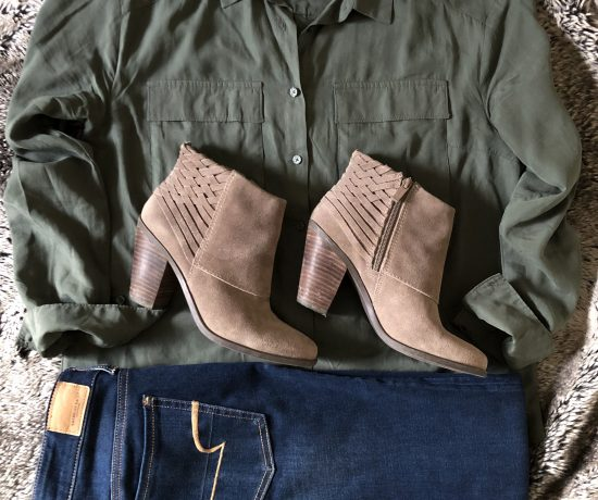 olive green utility shirt taupe booties