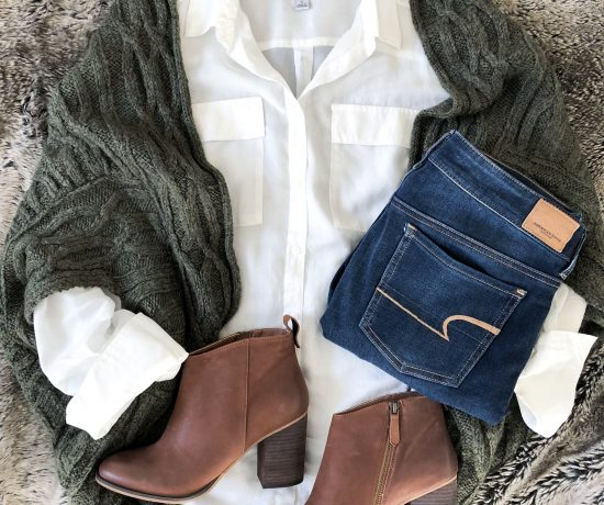 cocoon green sweater brown booties white shirt