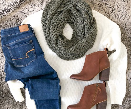 white sweater jeans brown booties scarf